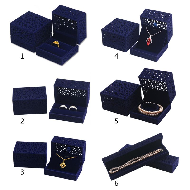Hollow Royal Blue Velvet Jewelry Long Necklace Box – Chain Pendant Display Box