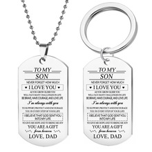 New European and American stainless steel jewelry TO MY SON military brand necklace stainless steel dog tags can be customized g new stainless steel