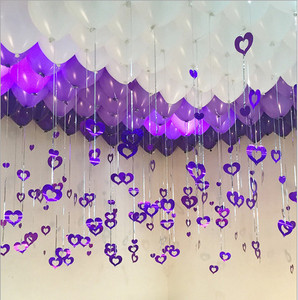 100pcs/lot Purple Heart Laser Sequined Rain Balloon Pendant Romantic Wedding Room Birthday Party Decoration Balloon Accessories
