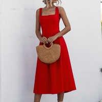 Summer Elegant beach robe midi Dress Women 2020 U-neck sexy Strap Sexy Backless party Red Dresses women vestidos de fiesta
