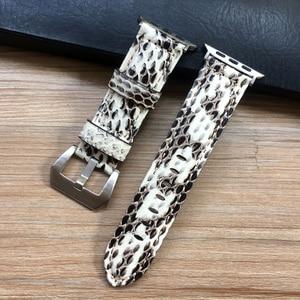Image 5 - Uhr Band Für Apple Uhr Genuine Snake Skin Leder Uhr Strap Für Apple Serie 1 2 3 4 Uhrenarmbänder iWatch 38mm 40mm 42mm 44mm
