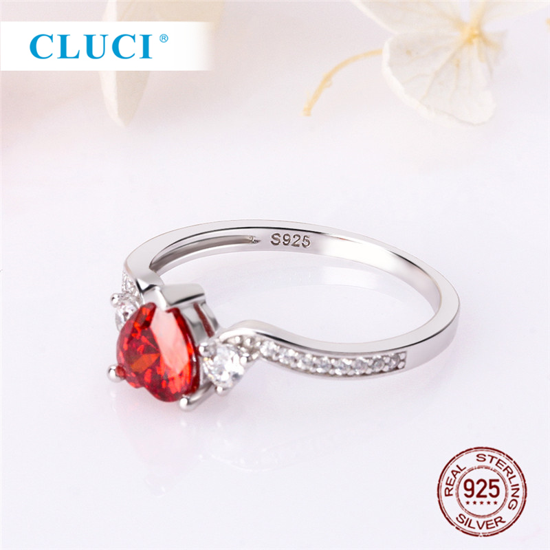 CLUCI Classic 925 Sterling Silver Big Red Heart Zircon Ring for Women Engagement Wedding Jewelry in Rings from Jewelry Accessories