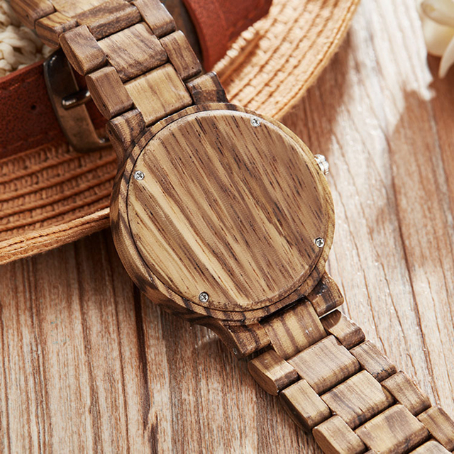 Couple Gift Women Watches Laides Casual Wrist Watch Wooden Round Dial Band No Number Analog Hollow Couple Bracelet Quartz Watch 4