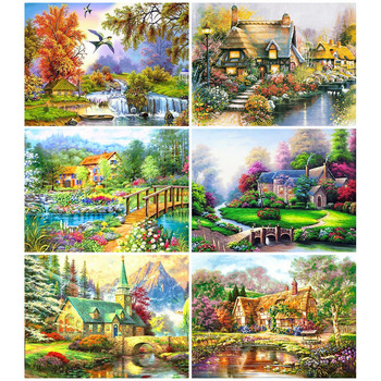 HUACAN Landscape Diamond Painting Village Full Drill Square Diamond Art Embroidery House Cross Stitch Home