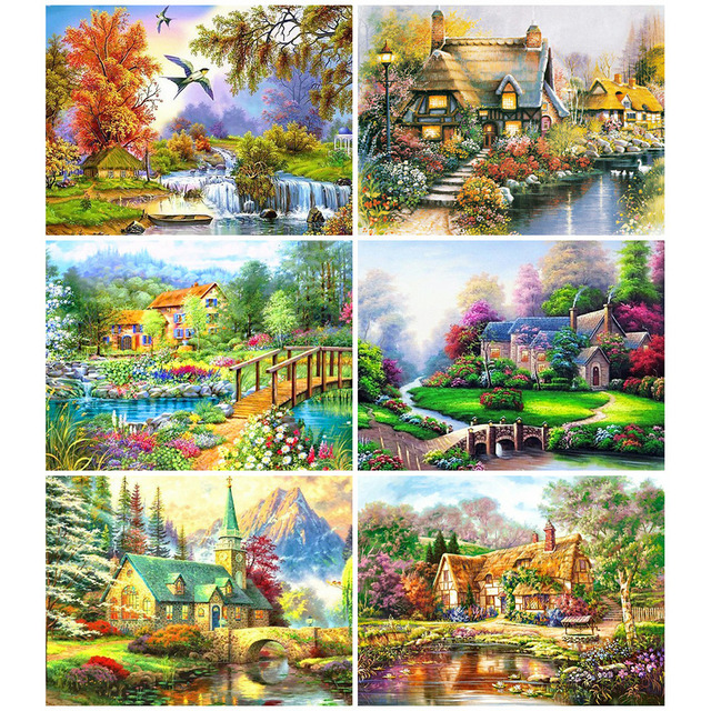 HUACAN Landscape Diamond Painting Village Full Drill Square Diamond Art Embroidery House Cross Stitch Home Decoration