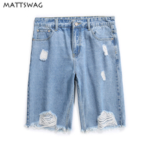 MATTSWAG Hip Hop Ripped Blue Men Jean Shorts 2020 New Distressed Mens Hole Denim Short Summer Casual Knee-Length for