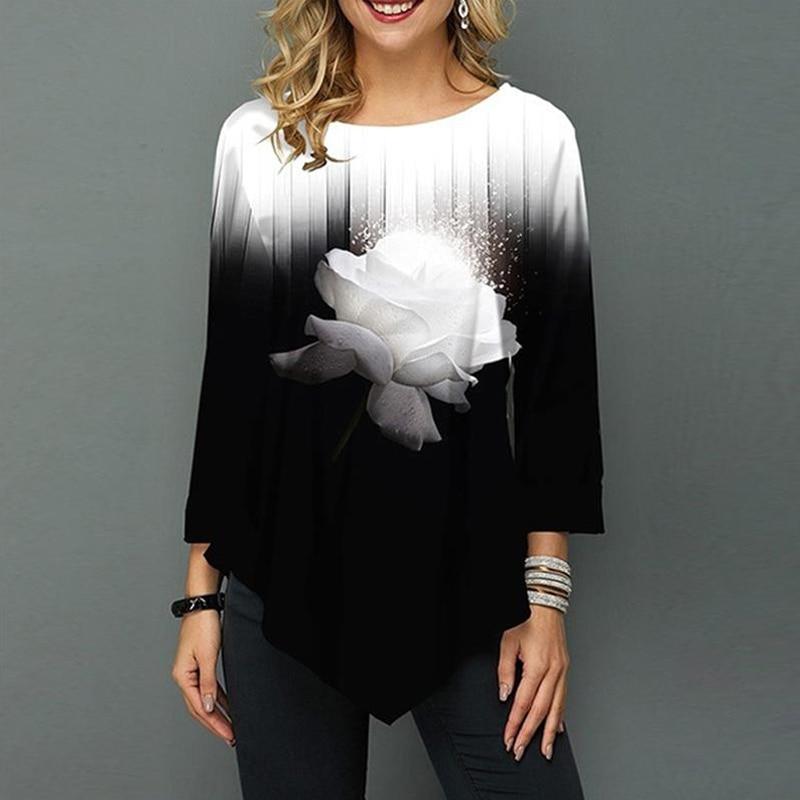 Women Shirt Spring Autumn Printing O-neck Blouse Long Sleeve Casual Hem Irregularity Female Fashion Shirt Tops Plus Size