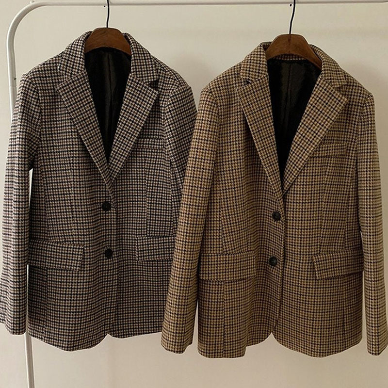 Korean Women Elegant Plaid Blazer Long Sleeve Single Breasted Slim Coat Office Work Lattice Suit Jacket Outerwear