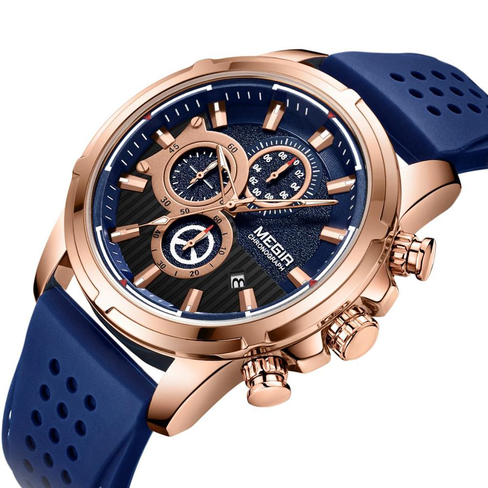 <font><b>Megir</b></font> Men Watch New Fashion Sport Mens Watches Top Brand Luxury Waterproof Quartz Chronograph Gold Clock Male erkek kol saati image