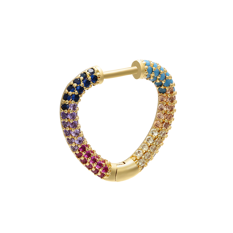 ZHUKOU 1 piece gold/silver color small hoop earrings 2020 NEW Fashion CZ crystal heart/oval earrings for women Jewelry VE158