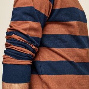 Image 4 - KUEGOU 2020 סתיו כותנה פסים כחול T חולצה גברים חולצת טי מותג חולצה ארוך שרוול חולצה אופנה בגדים חדש למעלה 1289