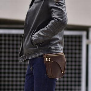 Image 3 - PNDME 정품 가죽 남성 허리 팩 빈티지 오토바이 벨트 가방 다기능 미친 말 소 가죽 매일 작은 어깨 가방