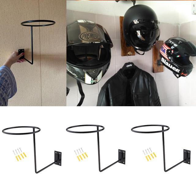 3Pcs Universal Aluminum Motorcycle Accessories Helmet Holder Hanger Rack Wall Mounted Hook for Coat Hat Cap Helmet Rack Black