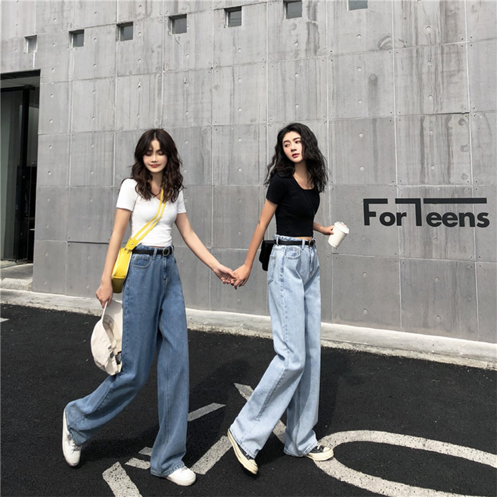 Wide-Leg Pants Women's Pantalon Femme  Jeansowe New Style High-waistedloose And Full Of Jeans WoStraight Pants Versatile Jeans