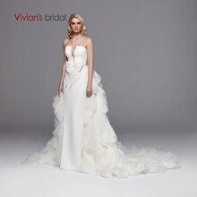 Vivianın gelin seksi straplez derin Cut out saten gelin elbise 2019 zarif fırfır tül ayrılabilir tren Backless düğün elbisesi