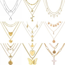 VKME модное многослойное ожерелье с жемчужным крестом, креативное ожерелье для женщин, ювелирное изделие в стиле бохо, подарок