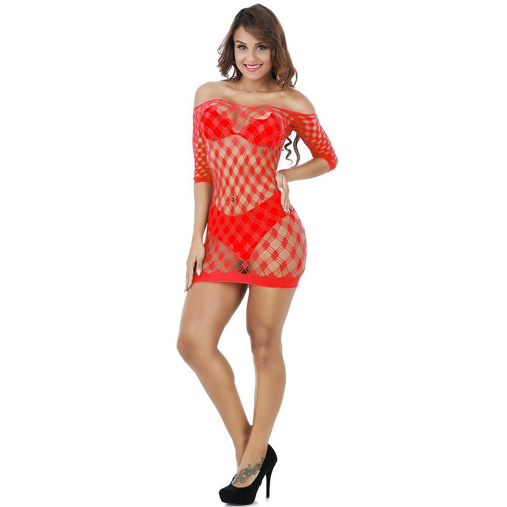 Top Women slips Transparent Mesh Bodystockings Bodycon Sexy Underwear Dress ropa interior femenina femme Fishing net sex