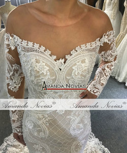 Image 5 - Off the shoulder long lace sleeves mermaid wedding dress 2020 custom order bridal dress