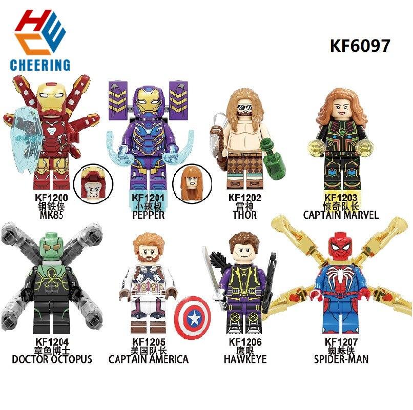 Single Sale Building Blocks Figures Ironman Pepper Doctor Octopus Spiderman Captain America Thor Bricks Toys For Children KF6097