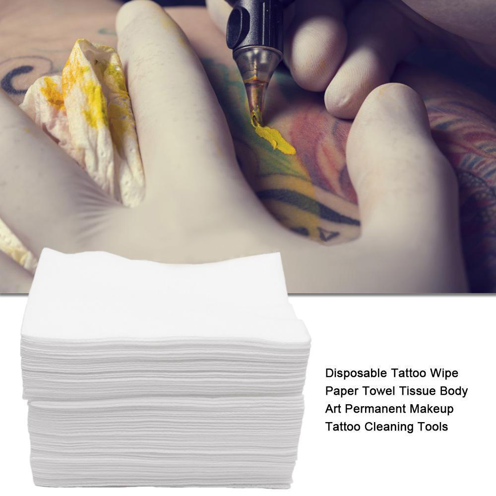 50pcs White Disposable Tattoo Wipe Paper Towel Soft Tattoo Cloth Towel Cleaning Pad Waterproof Makeup Tattoo Cleaning Tools