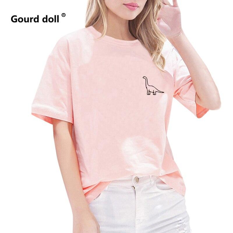 Новинка 2019, женская футболка с принтом маленького динозавра, летняя женская футболка с круглым вырезом, забавные розовые и белые кавайная ф...