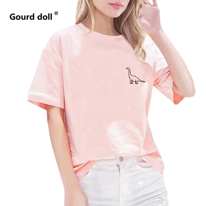 NEW2019 small dinosaur print women T shirt o-neck summer Ladies female tops tee Funny pink white kawaii tshirt women clothes(China)