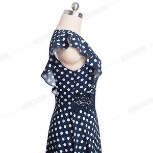 Image 4 - Ładny na zawsze Retro kropki rękaw z falbankami vestidos z koronką Party kobieta Swing Flare kobiety sukienka A175