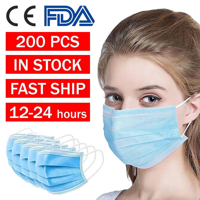 Dropshipping Hygiene Safety Face Masks 3-Ply Protective Non-woven Disposable Elastic Mouth Soft Breathable Disposable Face Mask