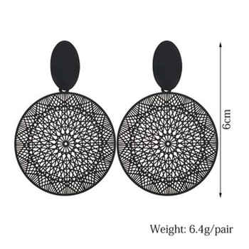 Trendy Earring 2019 Black Round Circle Drop Earring For Women Hollow Geometric Korean Dangle Earring Fashion Jewelry pendientes