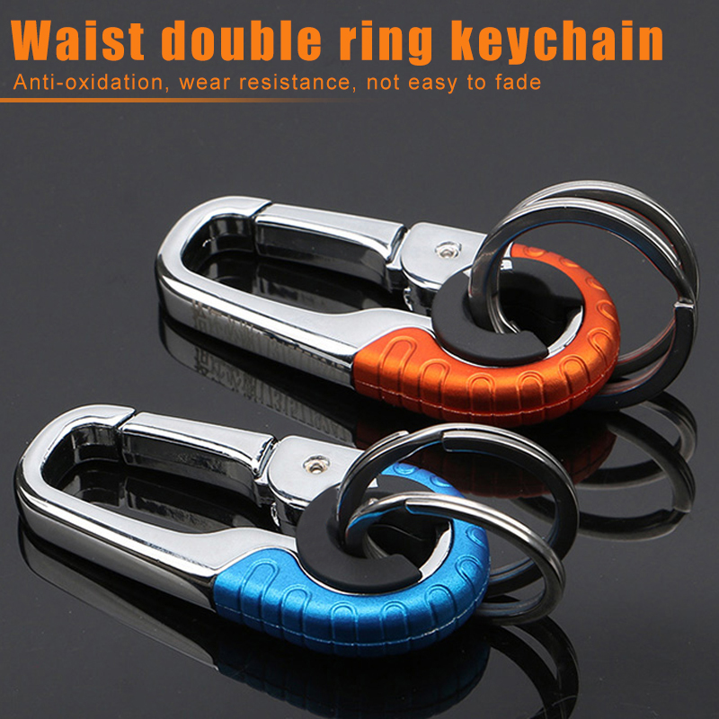Newly Keychain Key Ring Hook Outdoor Metal Buckle Carabiner Climbing Tools Double Ring Car Keychain