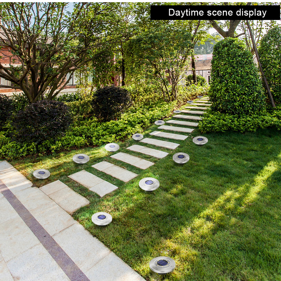 Round Shaped In Ground Solar Outdoor light with 8 LED and Infrared Light Sensor for Garden Pathway 13