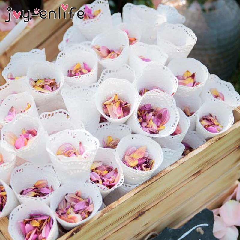 200pcs Wedding White Round Lace Laying Candy Placed Wedding Party Decoration Flower Confetti Cones Paper Cone Party Gift Wrapper