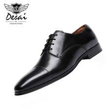 DESAI 2019 Autumn New Mens Large Size PU Leather Shoes Square Toe Business Dress Men Casual Oxfords EU 38-48
