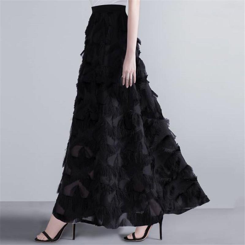 New Autumn Long Skirt Women Spring Feather Tassel Maxi Skirts Female Elegant Runway Skirt Maxi Party Jupe Faldas Largas Mujer