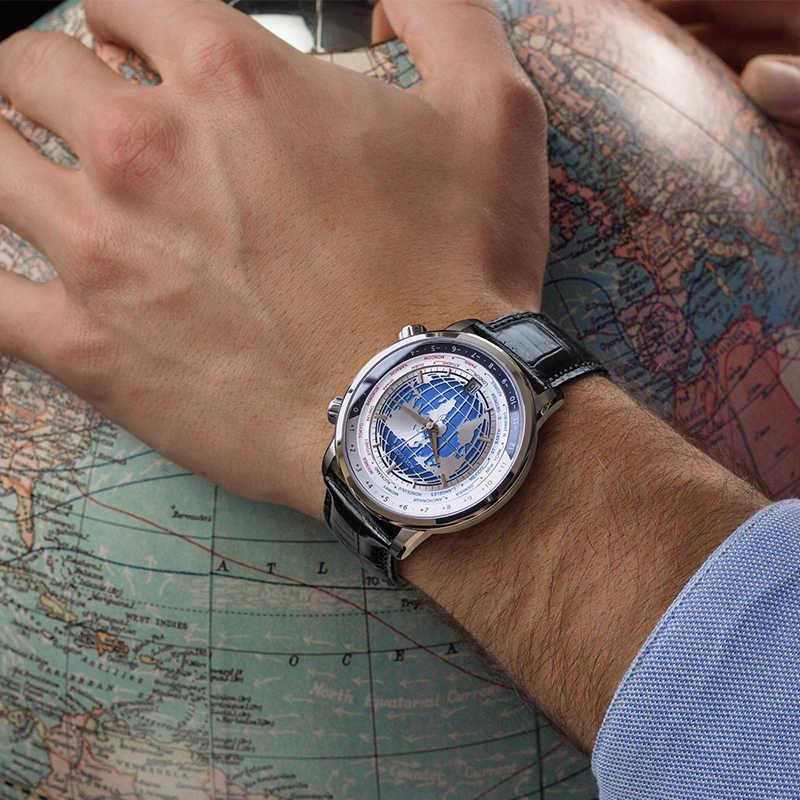 AGELOCER สวิสยี่ห้อ Designer ชายนาฬิกา World Time Date Power Reserve 80 ชั่วโมง Self-Winding อัตโนมัตินาฬิกา