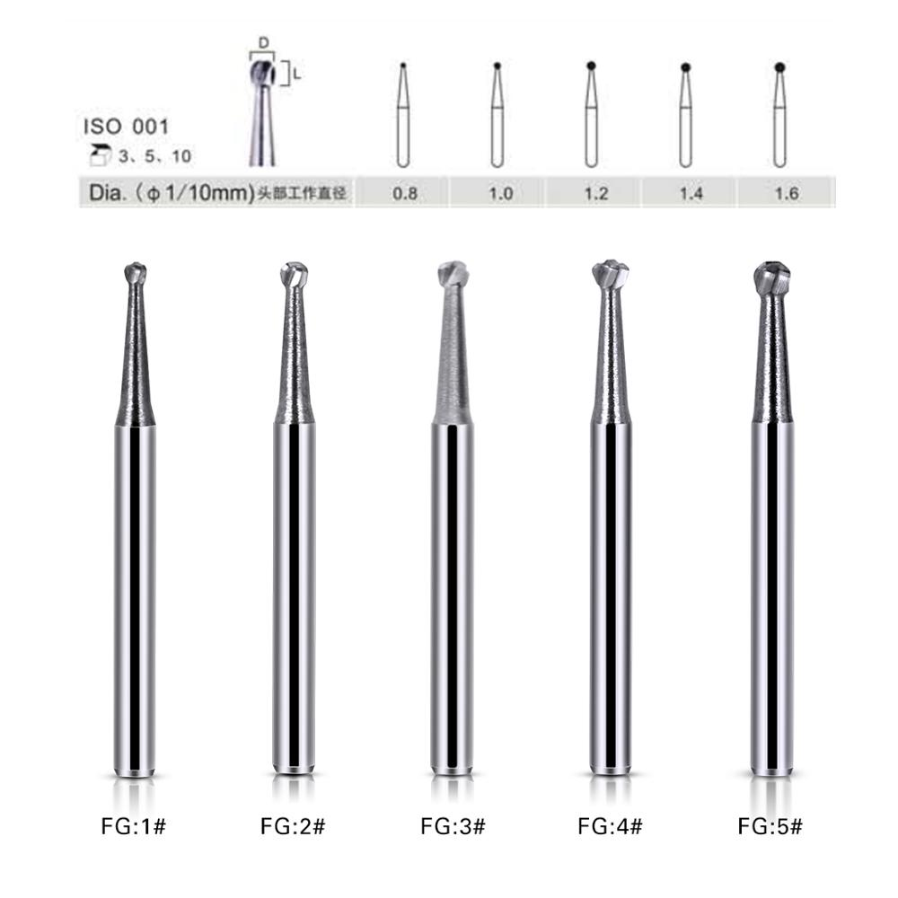 10Pcs/Box Dental Carbide Burs FG Round Dental Lab Clinic Tungsten High Speed Drills Handpieces FG1 FG2 FG3 FG4 FG5 Length 19mm