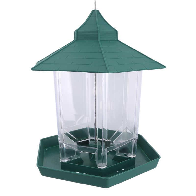 นกอาหารคอนเทนเนอร์กลางแจ้งสีเขียว BIRD Feeder พลาสติกแขวนกันน้ำ BIRD Feeder สัตว์เลี้ยงอุปกรณ์ตกแต่งสวน