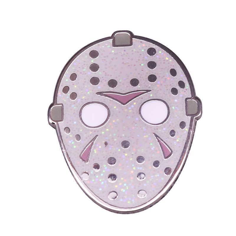 Cuma 13th tema emaye Pin Jason maske broş korku film severler için mükemmel ekleme
