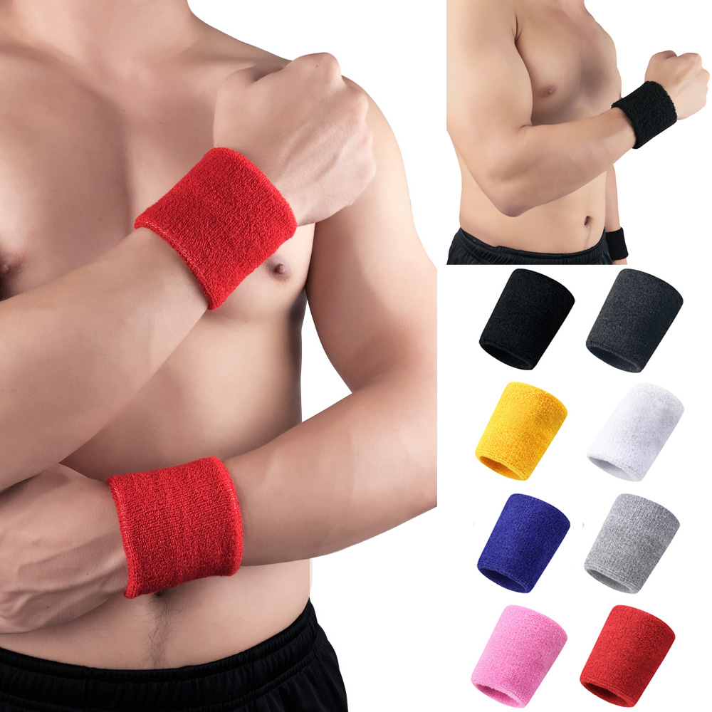 Sports Wrist Wristband Sports Sweatband Solid Color Fitness Training Men Women