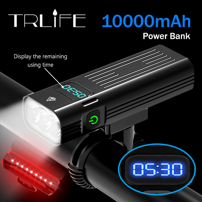 10,000mAh Bicycle Light 5T6 Leds USB Rechargeable 3L2 Digital Display Bike Light Flashlight Cycling Accessories as Power Bank