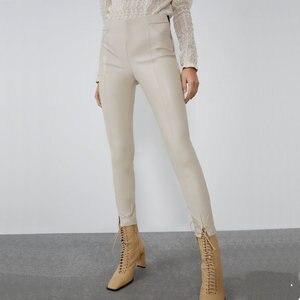 2020 Fashion Autumn Winter Women High Wasit Faux Leather Trousers Lady Black Beige Fleece PU Zippers Skinny Stretch Pencil Pants