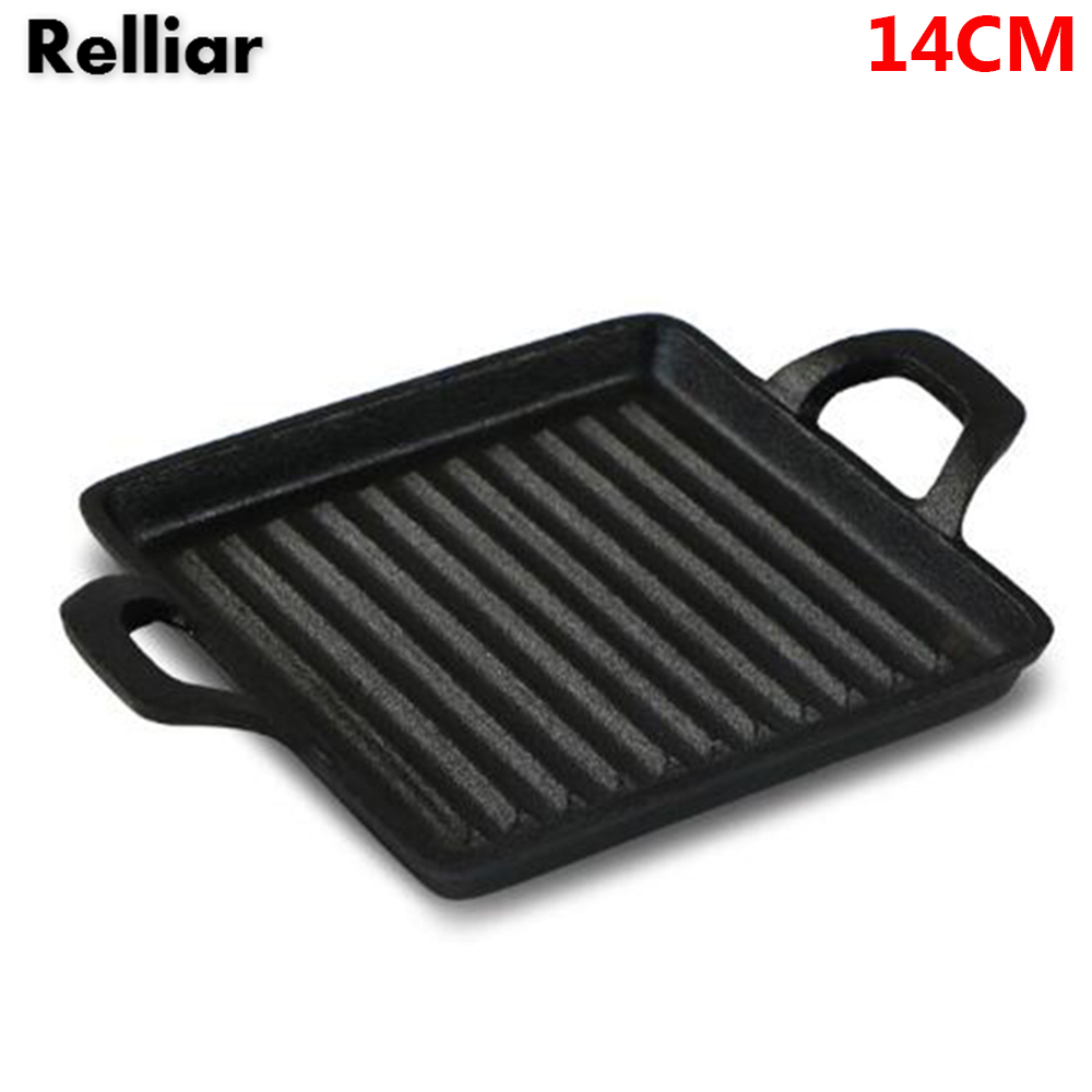 14cm Frying Pan Cast Iron Mini Steak Frying Pan Universal Cooker Grill Steak Omelette Non-stick Pan Without Cover