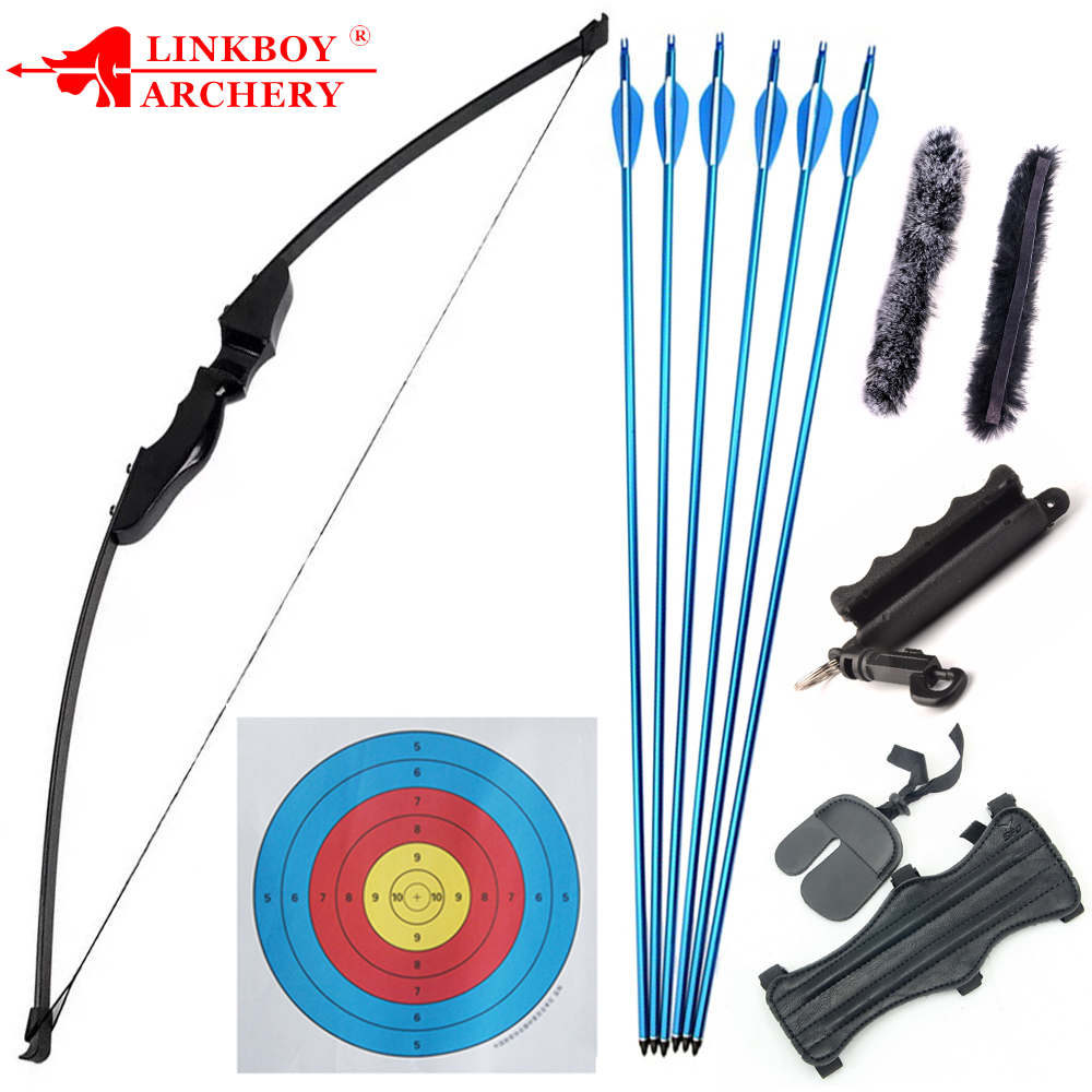 40lbs Archery Recurve Takedown Bow Straight Bow Long Bow With 6pcs Mix Carbon Arrows Accessories Outdoor Hunting Shooting