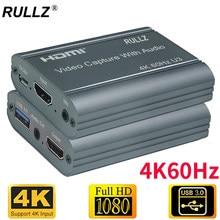4k 60hz hdmi placa de captura de vídeo 3.5mm saída de áudio mic no jogo de loop caixa de gravação 1080p 60fps usb 3.0 2.0 streaming ao vivo placa