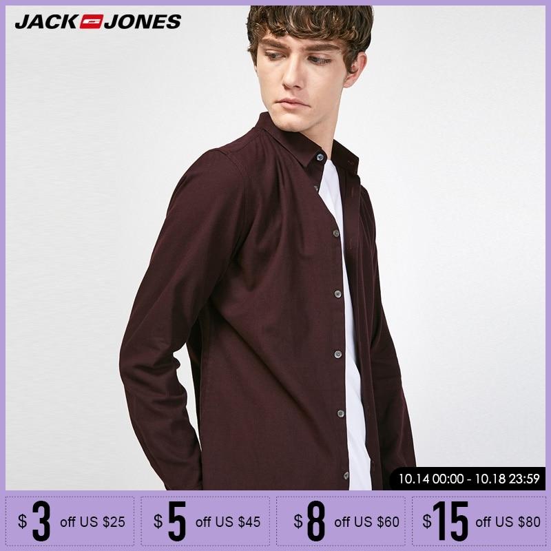 Jack Jones Men Shirt Casual Slim Fit Men's Long Sleeve Shirt Vintage Shirt |217305549