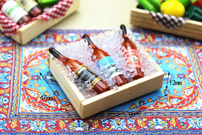 1:12 Rumah Boneka Miniatur 9 Gaya Mini Botol Anggur Buah Kotak Permen Makanan Mainan Cocok untuk Hewan Hutan Keluarga Koleksi Hadiah