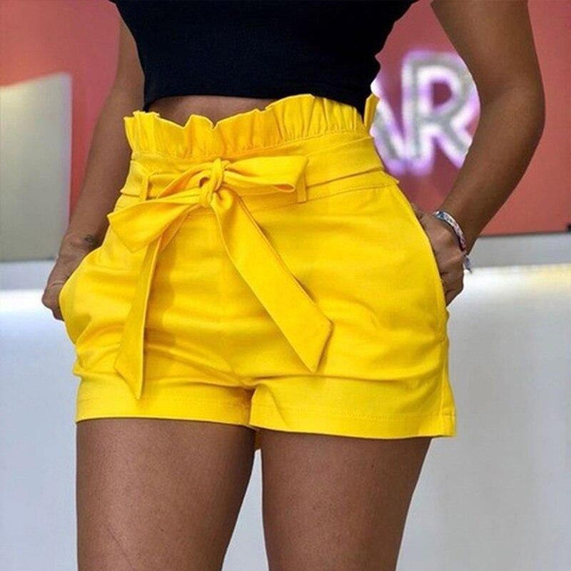 Women Shorts Female Sexy Soild Color Belted Beach High Waist Summer Shorts Loose Elastic Waist Streetwear Ruffles Waist Shorts