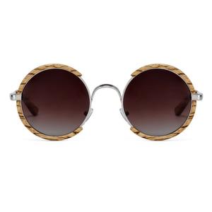 Image 1 - All Seasons Men Handmade Wooden Polarized Sunglasses Gradient Gray Lenses UV400 Retro Style Round Women Sun Glasses With Case