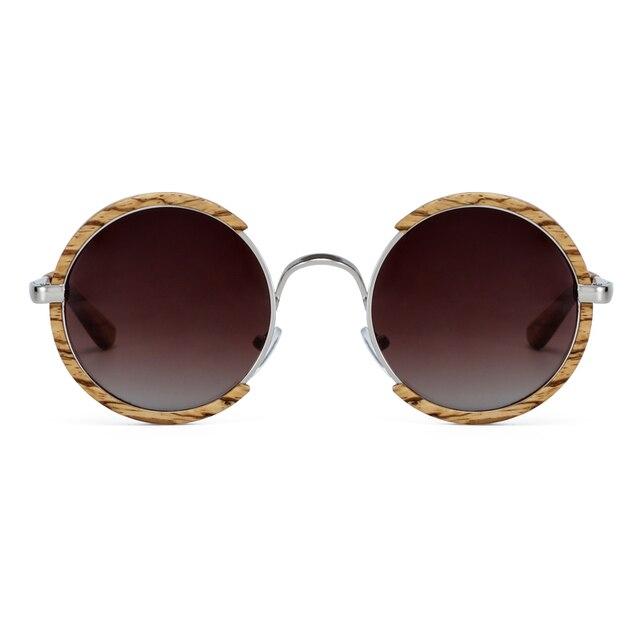 All Seasons Men Handmade Wooden Polarized Sunglasses Gradient Gray Lenses UV400 Retro Style Round Women Sun Glasses With Case