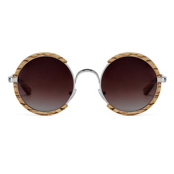 Wszystkie sezony mężczyźni Handmade drewniane spolaryzowane okulary gradientowe szare soczewki UV400 w stylu Retro okrągłe damskie okulary z etui tanie i dobre opinie better for wood CN (pochodzenie) ROUND Dla dorosłych 50mm Polaroid NCQ003 Sapele Zebra Wood Gradient tea gradient gray